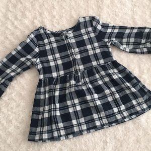 Girls black & white plaid dress